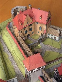 Castle House, Fortification, Paper Models, Fantasy World, Architecture, Towers, Old Houses, Diorama, Castles