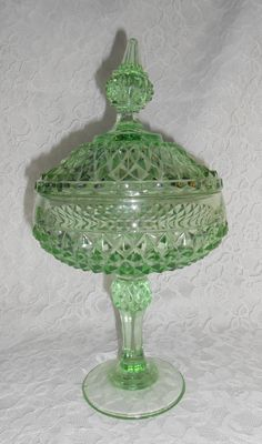 Vintage Green Depression Glass Compote Dish with Lid, Rare, Diamond Point Pattern by Indiana Glass Fenton Glassware, Antique Glassware, Antique Bottles, Vintage Bottles, Vintage Perfume, Antique Dishes, Vintage Dishes, My Glass, Glass Art
