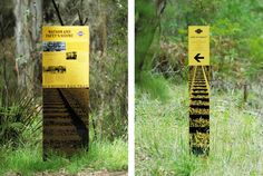 A system of interpretive signs we designed for the Old Beechy Rail Trail in the Colac Otway Shire. Environmental Graphic Design, Environmental Graphics, Lanscape Design, Wayfinding Signs, Sign System, Outdoor Signage, Signage Design, Expositions, Aso