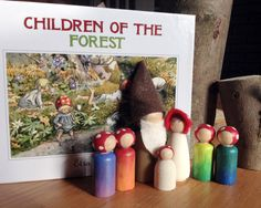 Items similar to Children of the Forest Waldorf Story Sack on Etsy Elsa Beskow Kinder des Waldes Buch mit Holzpflockern. Elsa Beskow, Children Of The Forest, Forest Book, Story Sack, Preschool At Home, Forest Friends, Wooden Pegs, Waldorf Dolls, Nature Crafts