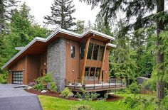Cottage Style Home Designs - Modern Cottage House Design at the Base of Squak Mountain, Washington . Modern Tiny House, Modern Cottage, Tiny House Design, Cottage Style, Cabin Design, Villa Architecture, Beautiful Architecture, Small Dream Homes, Craftsman Cottage