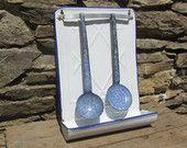 French vintage  white enamel utensil rack, kitchen rack. Blue graniteware enamel kitchen utensils.1930's Farmhouse decor. Rustic decor.