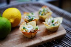 Crab salad in wonton wrapper cups.