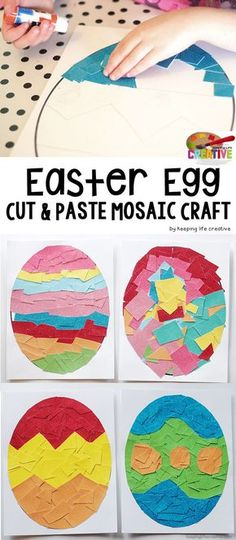 This Mosaic Easter Egg art project works for a range of ages--satisfying the cut-and-paste obsession of little preschool hands and challenging older kids to turn and twist the geometric shapes to arrange an intricate design. Easter Arts And Crafts, Easter Projects, Easter Crafts For Kids, Easter Activities, Holiday Activities, Craft Activities, Mosaic Crafts, Egg Art, Preschool Crafts