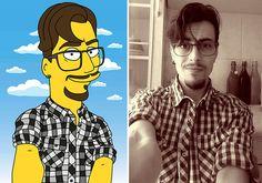 Illustrator Creates The Simpsons Caricatures from Portraits of Random People