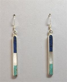 Earrings - Multi-Inlay Stones in Sterling Silver Line Dangles by Jimmy Poyer (Navajo) SOLD