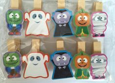 10pieces free shipping New Ghost Wooden Paper Clip/ wood pegs/ Mini Bag Clip/Halloween Party Special Gifts Favor by KJdecoration on Etsy