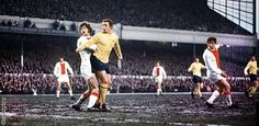 Arsenal 3 Ajax 0 in April 1970 at Highbury. John Radford watches as a chance goes just wide in the Fairs Cup Semi-Final, 1st Leg.