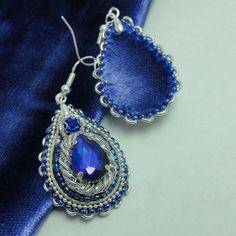 Купить Серьги-капли,  длинные или короткие - серьги длинные, серьги с синим камнем