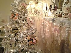Penny's Vintage Home: Shabby pink Christmas Tree - check out the draped mantle w/ lights behind, too ~mgh