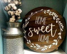 Your purchase will include one Home Sweet Home Circle Wood Sign measuring 17.5 diameter. I distress, sand, stain, paint, and seal each piece by hand. Because of this, each piece will have unique characteristics and no two will be exactly alike. Sawtooth hanging hardware is