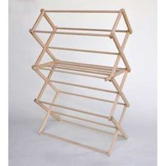 Medium Wooden Clothes Drying Rack-Folding, Heavy Duty, Free Standing-Portable Garment Laundry Dryer-Collapsible Indoor/Outdoor Clothing Hanging Racks by Benson Wood Guarantee Wooden Clothes Drying Rack, Pipe Clothes Rack, Diy Clothes, Clothes Dryer, Folding Clothes Rack, Drying Rack Laundry, Laundry Dryer, Laundry Storage, Diy Pipe
