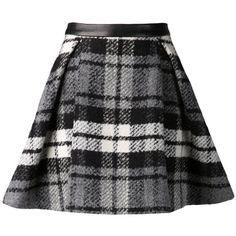 Drome plaid skirt ($940) ❤ liked on Polyvore featuring skirts, mini skirts, bottoms, saias, gonne, black, a line skirt, tartan skirt, leather mini skirt and tartan mini skirt
