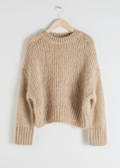 Front image of Stories wool blend chunky knit sweater in beige