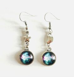 Earrings - Galaxy - Star - Moon - Assymetrical - Planets - Nebula - Space- Scifi…