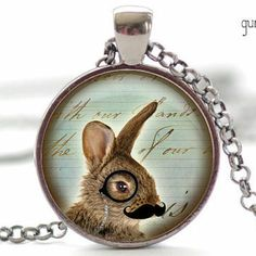 bunny-with-a-mustache-and-monocle-necklace-bunny-necklace-bunny-charm-rabbit-necklace-hipster-jewelry-rabbit-charm