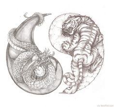 Awesome tiger and dragon yin yang tattoo idea.change tiger to wolf Yin Yang Tattoos, Dragon Yin Yang Tattoo, Dragon Tiger Tattoo, Forearm Tattoos, Body Art Tattoos, Tiger Dragon, Dragon Tattoos, Dragon Tattoo Forearm, White Tiger Tattoo