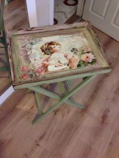 Wood painting tray models – Wood painting samples – Wood Works – Just another WordPress site Decoupage Vintage, Decoupage Art, Vintage Shabby Chic, Decoupage Furniture, Paint Furniture, Shabby Chic Furniture, Furniture Makeover, Furniture Projects, Shabby Chic Crafts