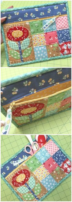 Quilty Zipper Pouch - easiest zipper ever? - Sew Modern Bags - Quilty Zipper Pouch – easiest zipper ever? – Sew Modern Bags Quilty Zipper Pouch – easiest zipper ever? Patchwork Bags, Quilted Bag, Sewing Hacks, Sewing Tutorials, Sewing Tips, Bag Tutorials, Sewing Basics, Bags Sewing, Quilt Patterns