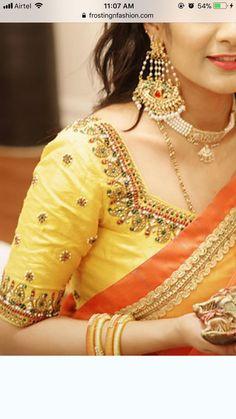 Trtrheyeteutetiq uw anuthe is meaning Wedding Saree Blouse Designs, Pattu Saree Blouse Designs, Blouse Designs Silk, Blouse Patterns, Simple Blouse Designs, Stylish Blouse Design, Blouse Models, Work Blouse, Indian Designer Wear