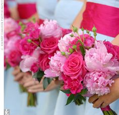pink wedding bouquet peonies roses
