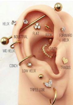 Cool Ear Piercings Tattoos - Cool ear piercings , coole ohrlöcher , piercings d'oreille cool , perforaciones fr - Pretty Ear Piercings, Ear Piercings Chart, Ear Peircings, Types Of Ear Piercings, Ear Piercings Cartilage, Multiple Ear Piercings, Different Ear Piercings, Lip Piercings, Double Cartilage