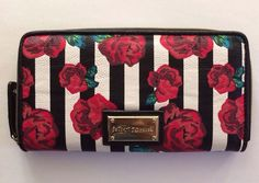 Betsey Johnson Logo red Rose print wallet White and Black stripe in Clothing, Shoes & Accessories, Women's Accessories, Wallets | eBay