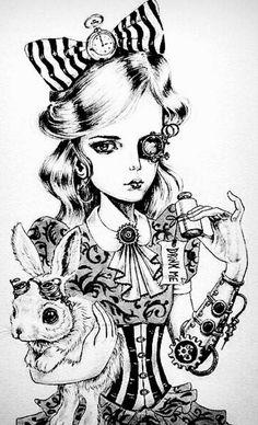 New steampunk fantasy art alice in wonderland Ideas Fantasy Kunst, Fantasy Art, Alice In Wonderland Steampunk, Alice In Wonderland Artwork, Dark Alice In Wonderland, Art Steampunk, Steampunk Drawing, Drawn Art, Arte Sketchbook
