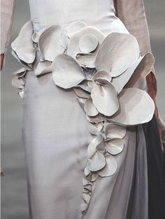 Wearable Art - dress with three-dimensional pattern resembling organic form; sculptural fashion accents