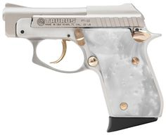"Taurus Model PT-22 .22LR with 2-3/4"" Tip-Up Barrel, Mother of Pearl Grips, Nickel Finish and Gold Accents"