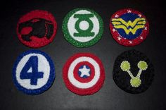 comic book badges, handmade from felt    visit us at = www.facebook.com/jennybobsgifts  or follow my blog = jennybobsgifts.blogspot.com