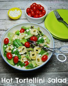 Hot Tortellini Salad - made with 3-ingredient vinaigrette and wilted into a hot salad.
