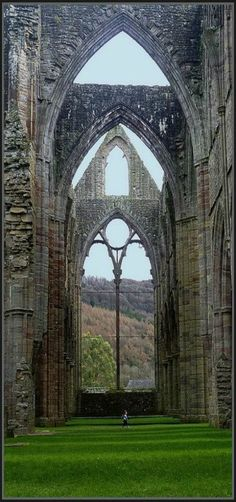 Tintern Abbey in south Wales was dissolved by Henry VIII, England. The Abbey is 881 years old.