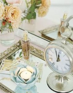 """Pinner writes: """"I did this with a mirror given to me by my aunt several years ago. It look vintage.and I use it in the bathroom to hold my colognes, and jars containing qtips and cotton balls. Photo: Courtesy of Country Living"""" Affordable Home Decor, Cheap Home Decor, Diy Home Decor, Shabby Chic Bedrooms, Shabby Chic Decor, Guest Bedrooms, Antique Bedrooms, Vintage Decor, Do It Yourself Decoration"""