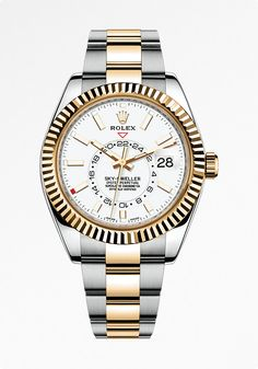 The Rolex Sky-Dweller in Rolesor, a combination of 904L steel and 18ct yellow gold, with a white dial and Oyster bracelet.