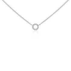 Mini Circle Diamond Necklace in 14k White Gold