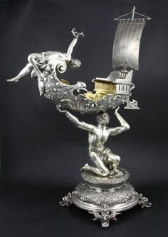 Continental 800 silver figural centerpiece, hallmarked in several places, 24 x ozt total weight. Vintage Silver, Antique Silver, Silver Centerpiece, Art Nouveau Furniture, Copper Lamps, Champagne Buckets, Metal Artwork, Centre Pieces, Silver Plate