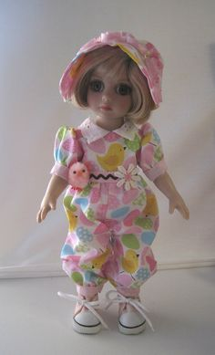 "https://flic.kr/p/qA7wDs | FS Easter Chick Romper & hat & Chick for 10"" Tonner Patsy Ann Estelle Half Pint Doll"