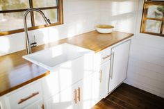 Farm Sink - Monocle by Wind River Tiny Homes love the shiplap interior walls!
