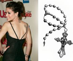 Charm Cross Tattoo Rosary tattoos can be placed anywhere on the body, as their design is very versatile. This Alyssa Milano temporary version of the rosary tattoo is a small one, so you can apply it easily on your shoulder, arm, wrist or leg.