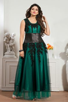 Teal Green Colour Net Fabric Designer Semi Stitched Gown Comes With Matching Dupatta. This Gown Is Crafted With Resham Work,Embroidery,Cut Dana,Stone Work. This Gown Comes as Semi Stitched So It Can B...
