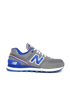 cff4ea69ed23a New Balance Gray Blue Stadium 574 Sneakers Sporty Style