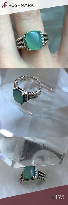 ☆2xHP ☆ᴅᴀᴠɪᴅ ʏᴜʀᴍᴀɴWheaton/Diamonds+Chalcedony. DAVID YURMAN • Petite Wheaton w/// Genuine diamonds + •925 Sterling + DY stamp + Aqua Chalcedony stone ::: Excellent condition ::: Size [5] ::: Stunning ring///no chips//slight clicking noise to stone but not to worry, reposh + previous owner took it to DY and everything was sound. I have loved it but need a size 4.5 ///Authentic David YURMAN ///Mint condition /// Original box + dust bag not included /// See DY stamp on ring /// PRICE FIRM…