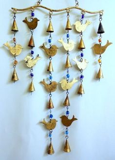 Birds-Bells-Golden-Metal-Glass-Beads-Wind-Chime-Wall-Hang-Made-in-India-28-New