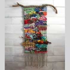 Woven Wall Hanging with Found Objects Colorful Wall by fishwarp