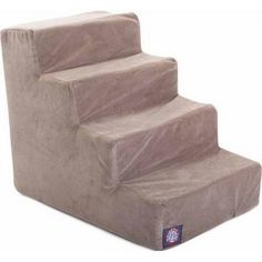 4 Step Stone Tan Suede Pet Stairs By Majestic Pet Products In Neutral Tone : Pet Furniture : Pet Supplies Ramp Stairs, Pet Stairs, Stairs Colours, Stair Steps, Slipcovers, Pet Supplies, Home Furniture, Armchair, Pets
