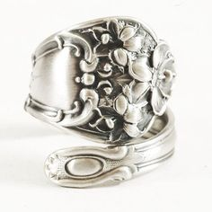 Vintage Hibiscus Blossoms Sterling Silver Spoon Ring by Spoonier