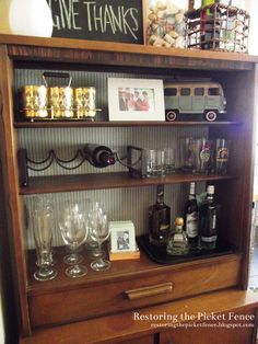Turning a bookcase or china cabinet into a bar. DIY bar. - Restoring the Picket Fence