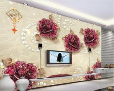 beibehang wallpaper for walls 3 d 2017 Advanced Large Wallpaper New Atmosphere Jewelry Flower 3D TV Wall papel de parede behang