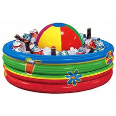 Use a cheap, inflatable, baby pool as a beverage cooler at your next outdoor event.